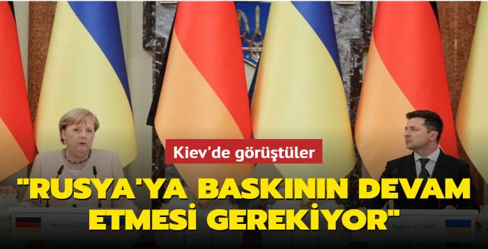 """Ukrayna Devlet Başkanı Zelenskiy Kiev'de Almanya Başbakanı Merkel ile görüştü... """"Rusya'ya baskının devam etmesi gerekiyor"""""""