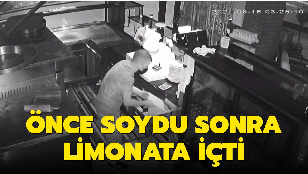 Hırsız önce soydu sonra limonata içti