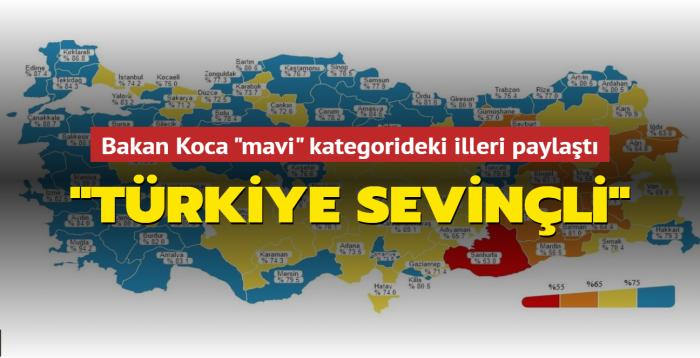 """Bakan Koca """"mavi"""" kategorideki illeri paylaştı: """"Türkiye sevinçli"""""""