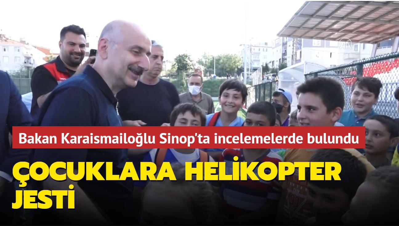 Bakan Karaismailoğlu'ndan Sinop incelemelerinde karşılaştığı çocuklara sürpriz