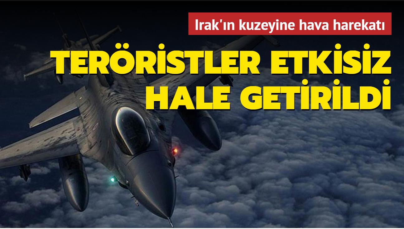 Irak'ın kuzeyinde 3 PKK'lı terörist hava harekatıyla etkisiz hale getirildi