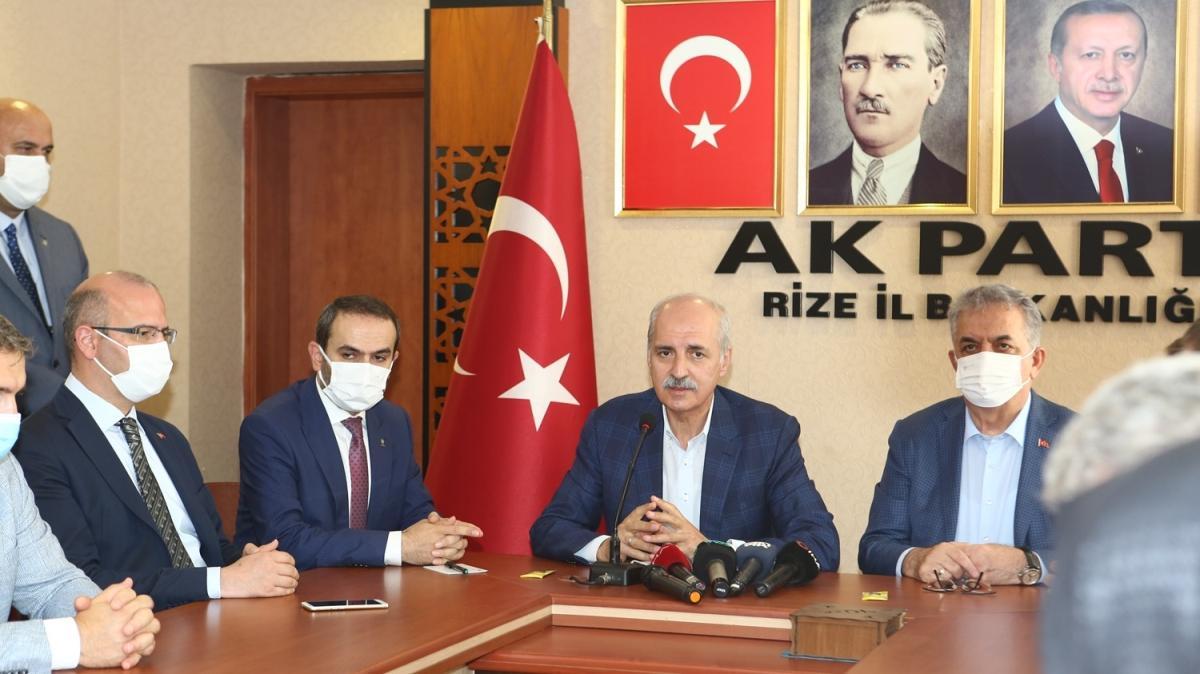 AK Parti Genel Başkanvekili Kurtulmuş başkanlığındaki heyet sel felaketinin yaşandığı Rize'de