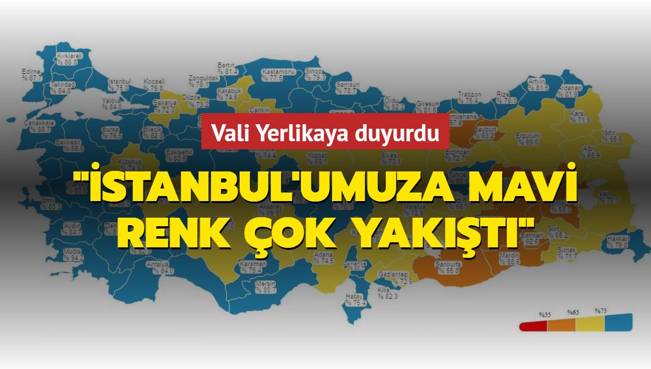 """Vali Yerlikaya: """"İstanbul'umuza mavi renk çok yakıştı"""""""