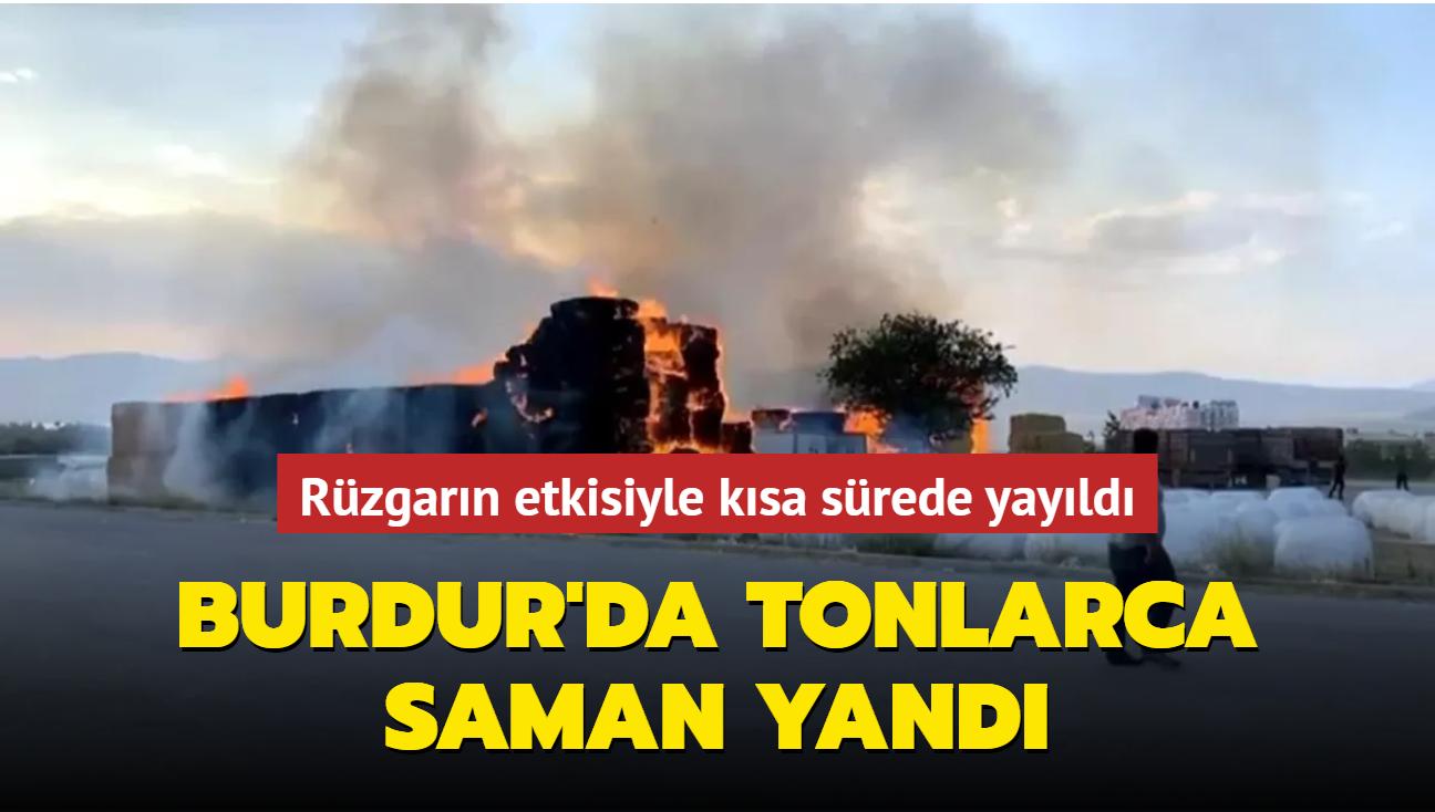 Burdur'da tonlarca saman yandı