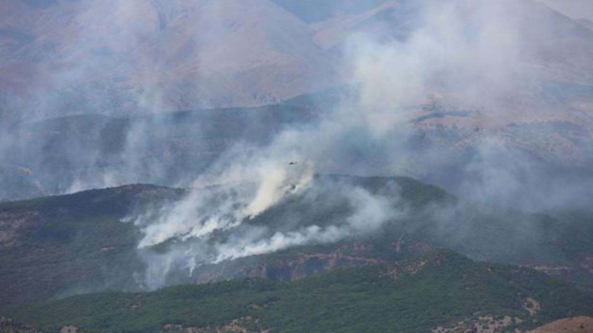 Tunceli'de devam eden yangına 1 uçak, 2 helikopter müdahale ediyor