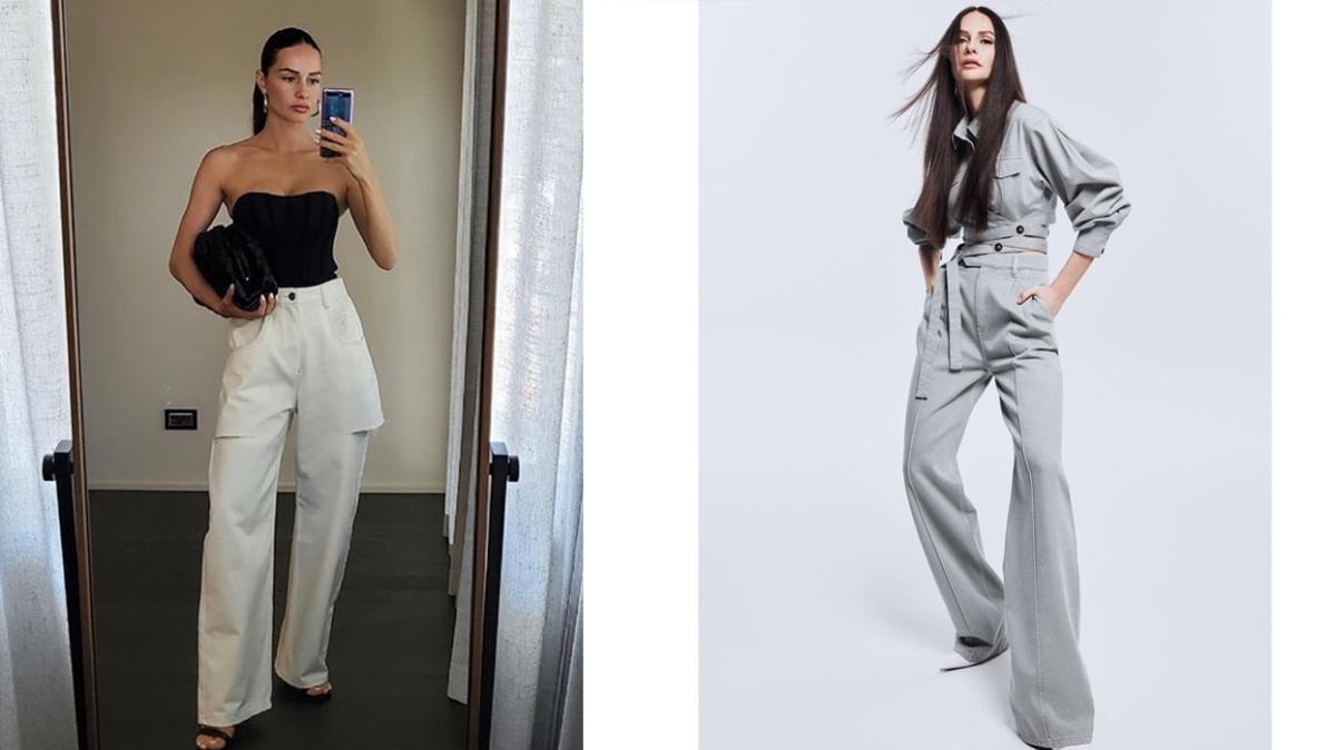 Yasemin Özilhan'ın 10 bol paça pantolon kombini