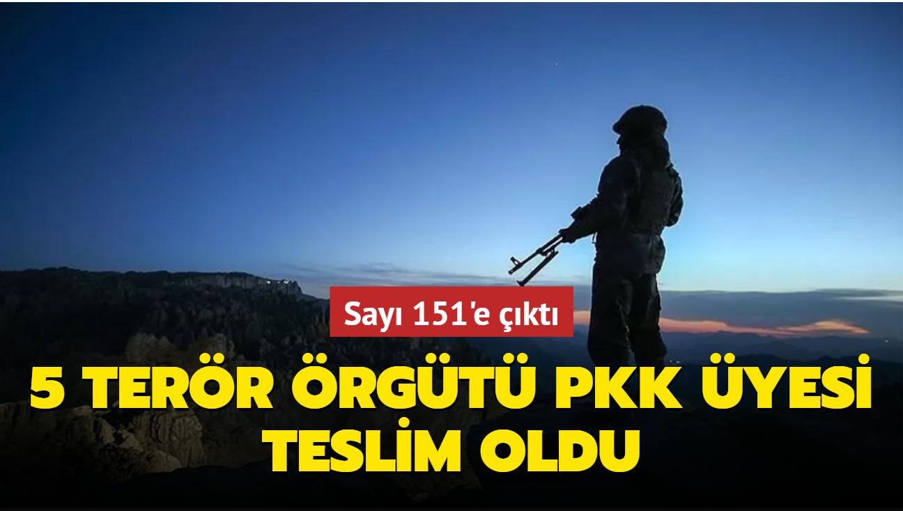 5 terör örgütü PKK üyesi teslim oldu