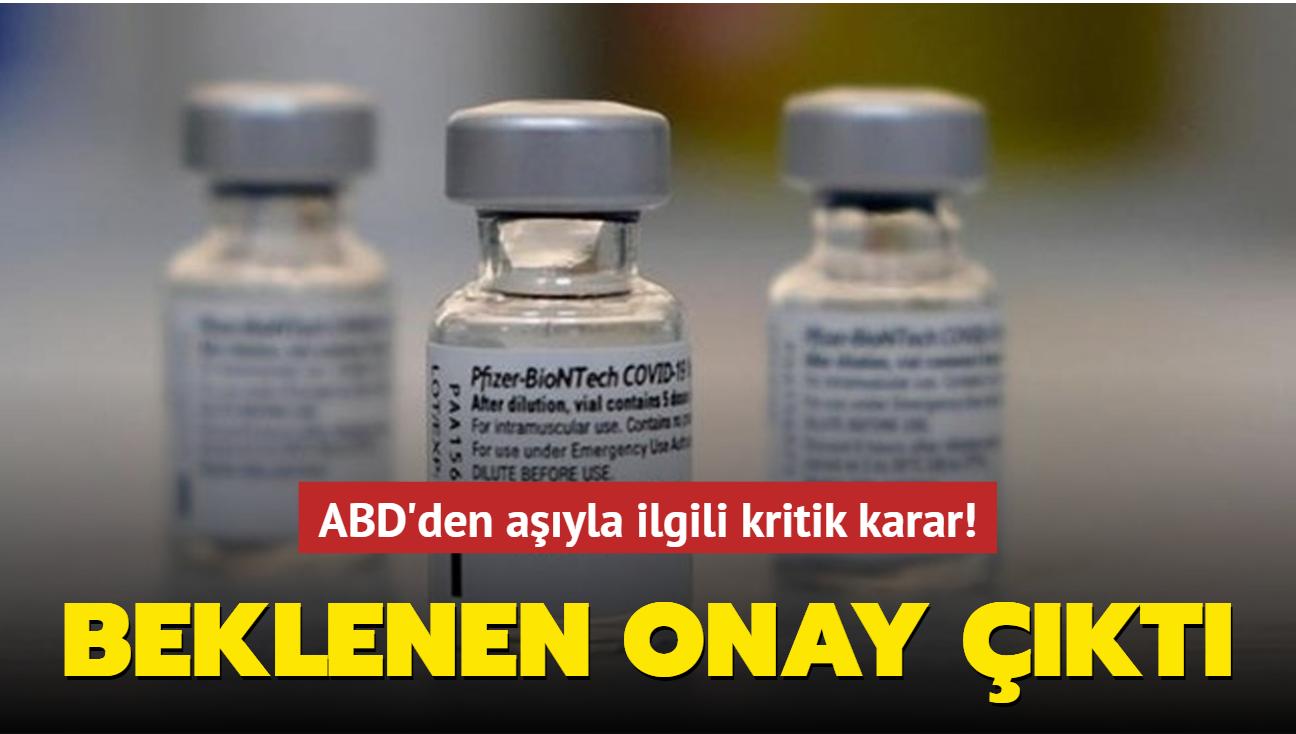 ABD'de Pfizer/Biontech aşısının üçüncü dozuna onay