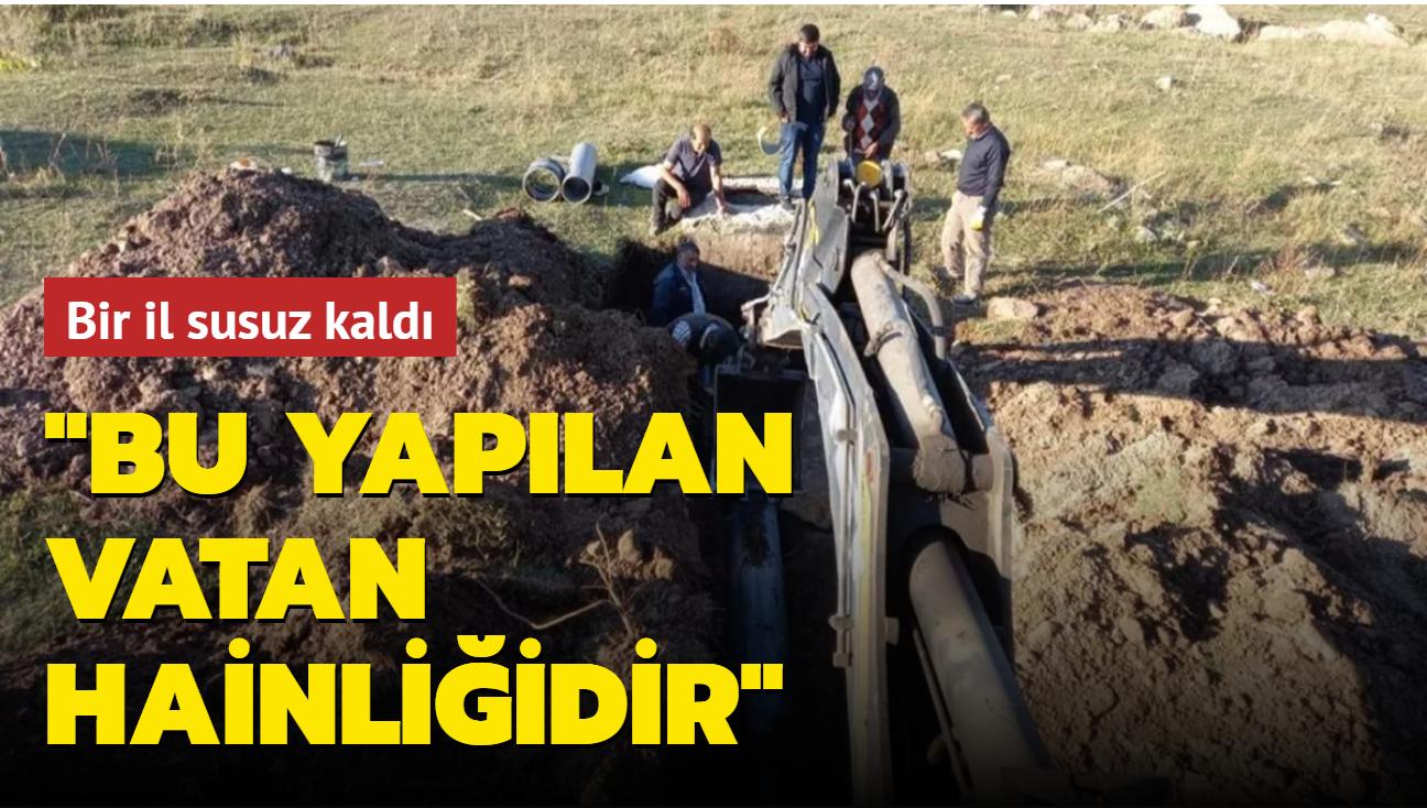 Pazar günü susuz kalan Ardahan'da su boru hattı parçalanmış