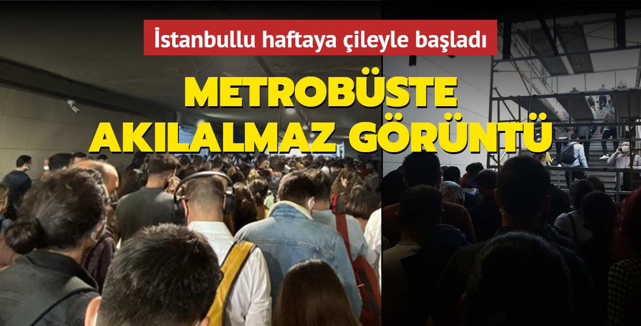 İstanbullu haftaya çileyle başladı: Uzunçayır metrobüste akılalmaz görüntü!