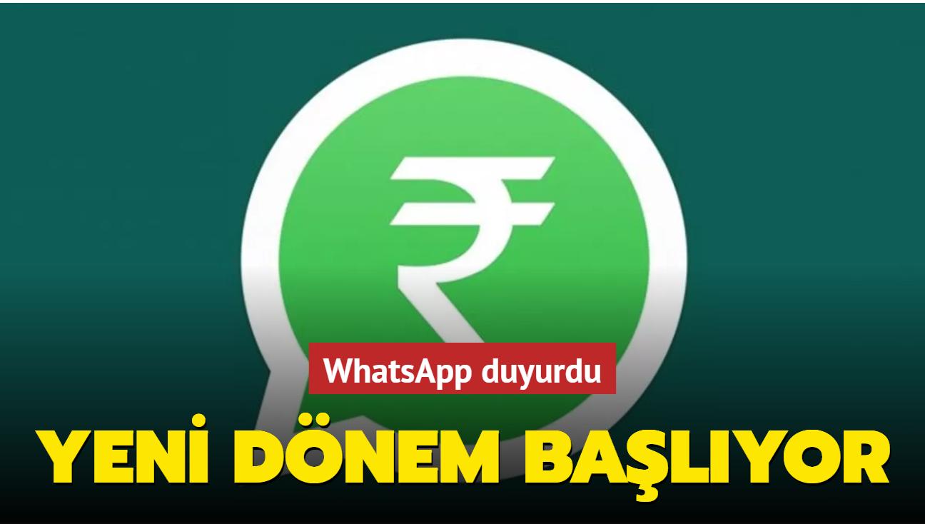 WhatsApp ile para transfer dönemi başlıyor