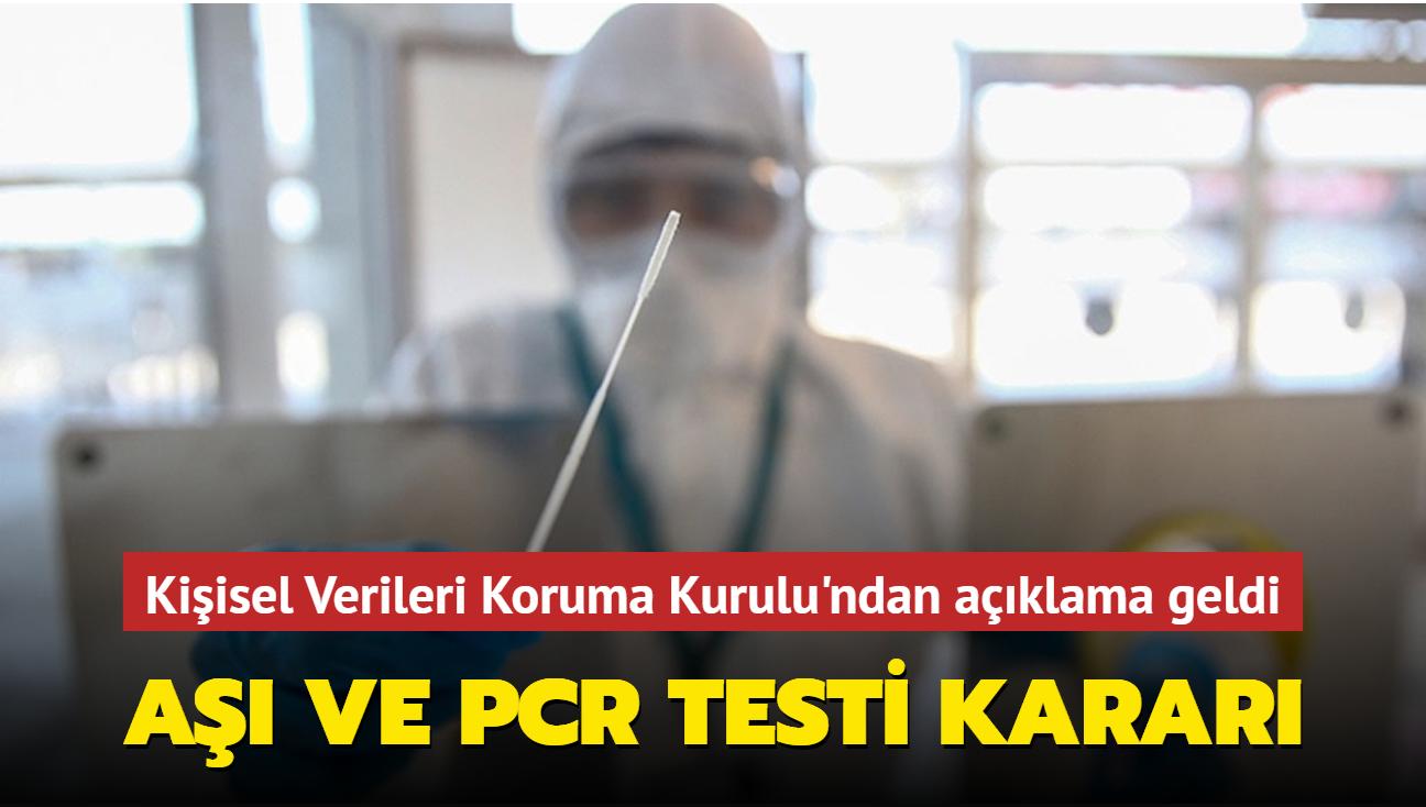 """Kişisel Verileri Koruma Kurulu'ndan """"PCR testi"""" kararı"""