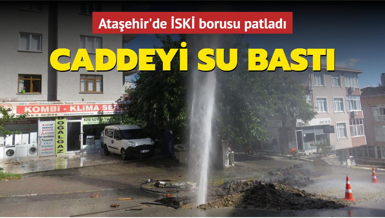 Ataşehir'de İSKİ borusu patladı... Caddeyi su bastı