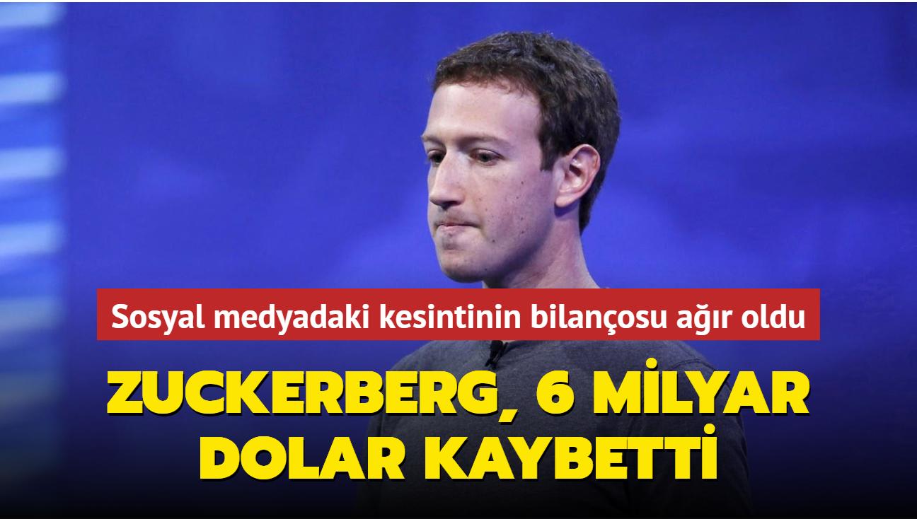 Facebook CEO'su, sosyal medyadaki erişim sorunu nedeniyle 6 milyar dolar para kaybetti