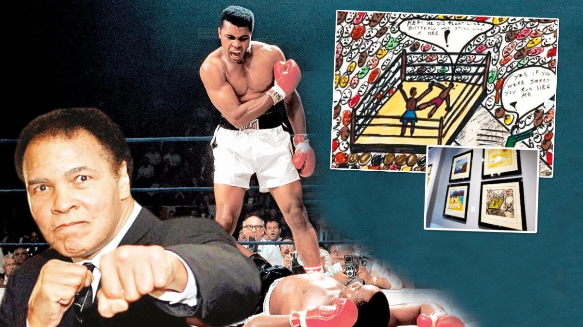 """Karikatürist Muhammed Ali! """"Kelebek gibi uçar, arı gibi sokarım"""" sözlerinin sahibi dünyaca ünlü boksör Muhammed Ali'nin çizimleri açık artırmada"""