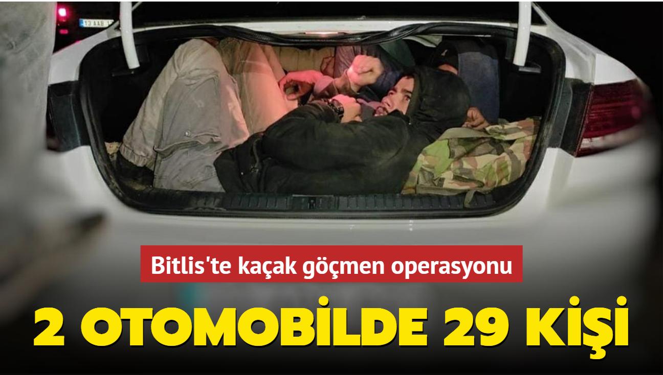 Bitlis'te kaçak göçmen operasyonu... 2 otomobilde 29 kişi