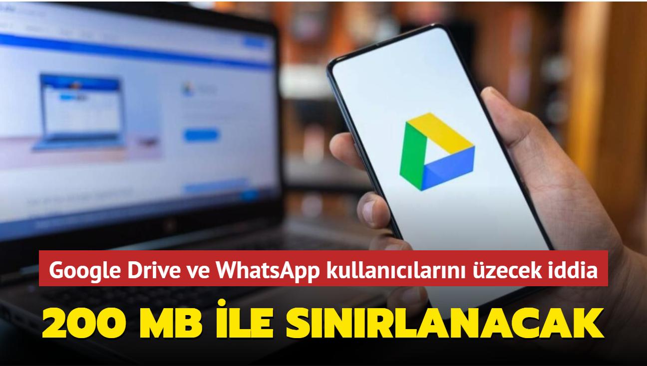 Google Drive, WhatsApp için ayrılan yedekleme alanını 200 MB ile sınırlamayı planlıyor