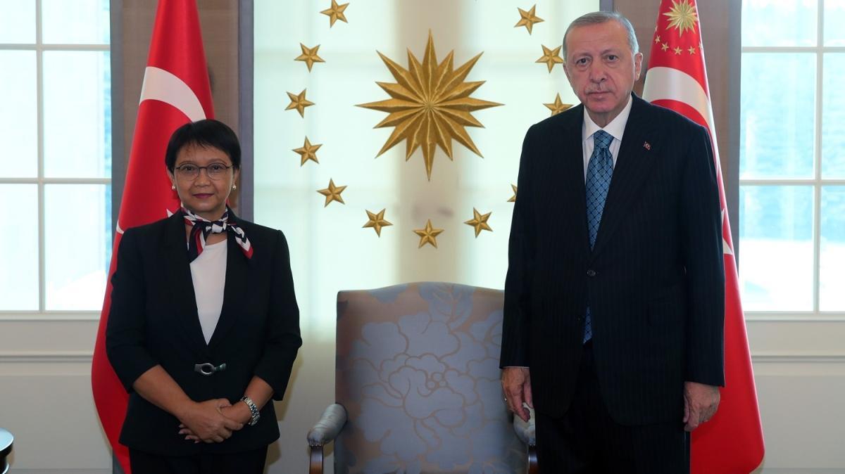 Başkan Erdoğan, Endonezya Dışişleri Bakanı Marsudi'yi kabul etti