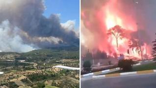 <p>Manavgat'ta çıkan orman yangını havadan ve karadan müdahaleyle kontrol altına alınmaya çalışılıyo