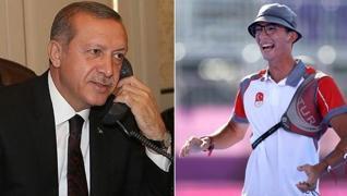 <p>Başkan Erdoğan, 'Bizi çok çok çok duygulandırdın. Tarihi bir başarı aldın, seni gönülden tebrik e