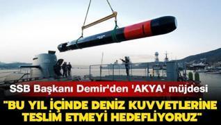 SSB Başkanı Demir'den milli torpido 'AKYA' müjdesi: 'Bu yıl içinde Deniz Kuvvetleri Komutanlığımıza teslim etmeyi hedefliyoruz'