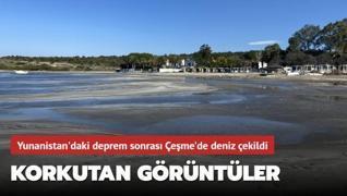 Yunanistan'daki deprem sonrası Çeşme'de deniz çekildi!