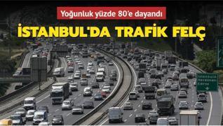 İstanbul'da trafikteki yoğunluk son dakika yüzde 78'i gördü