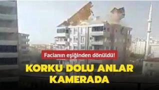 Gaziantep'te fırtına nedeniyle çatının uçma anı kamerada