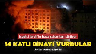 İşgalci İsrail'in hava saldırıları sürüyor... 14 katlı binayı vurdular