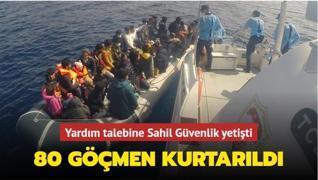 Ayvacık açıklarında 80 kaçak göçmen kurtarıldı