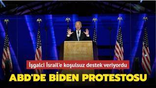 İşgalci İsrail'e koşulsuz destek veriyordu... ABD'de Biden protestosu