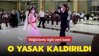 Düğünlerde ikram yasağı kaldırıldı