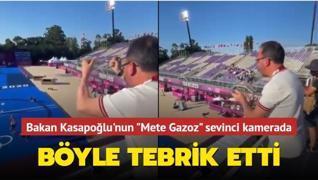 Bakan Kasapoğlu'nun 'Mete Gazoz' sevinci kamerada