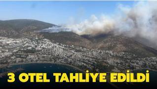 Bodrum yangınında 3 otel tahliye edildi