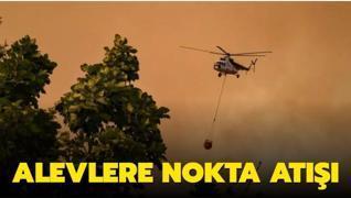 Yangın söndürme helikopterinden canlı yayın... Alevlere nokta atışı!