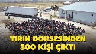 Tırın dorsesinden 300 kişi çıktı