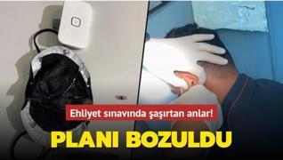 Kırıkkale'de ehliyet sınavında kopya düzeneği! Kulağından çıkarıldı