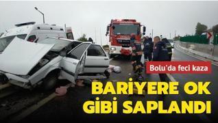 Bolu'da feci kaza... Bariyere ok gibi saplandı