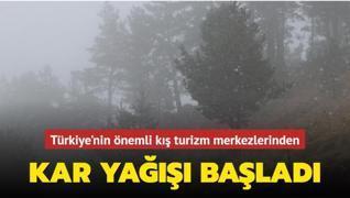 Türkiye'nin önemli kış turizm merkezlerinden... Kar yağışı başladı