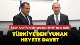 Bakan Akar Panagiotopoulos ile bir araya geldi... Türkiye'den Yunan heyete davet