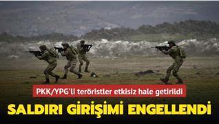 Barış Pınarı Harekatı bölgesinde saldırı girişimindeki PKK/YPG'li teröristler etkisiz hale getirildi