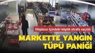 Bursa'daki markette yangın tüpü paniği... Düşünce içindeki köpük etrafa saçıldı