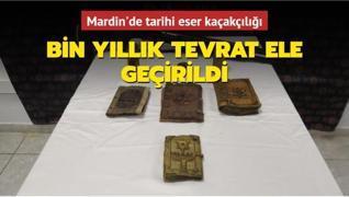 Mardin'de tarihi eser kaçakçılığı... Bin yıllık Tevrat ele geçirildi