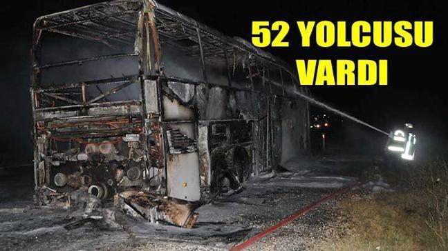Yanan otobüste 52 yolcu facianın eşiğinden döndü