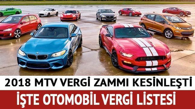2018 MTV araç vergileri kesinleşti işte otomobil vergi listesi