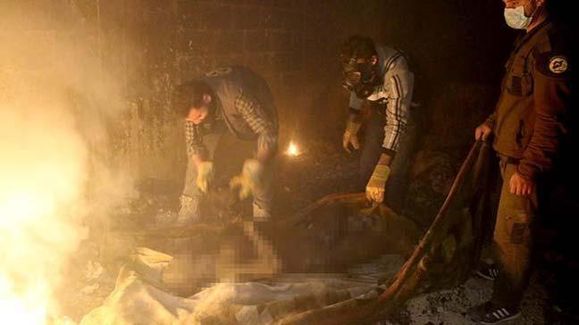Esed rejiminin Doğu Guta'da bir sığınağa düzenlediği saldırıda 37 sivil yanarak can verdi