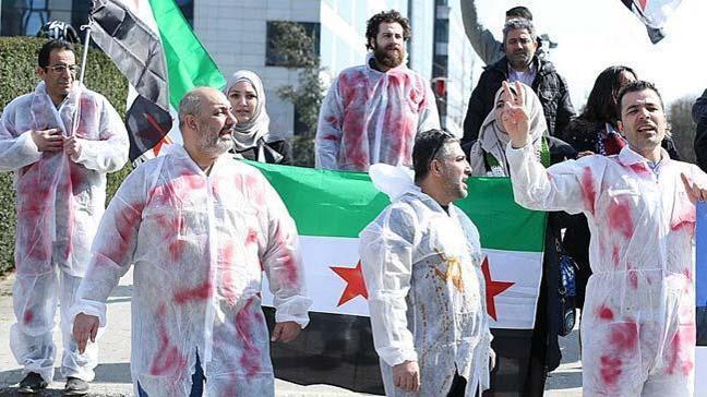 Belçika'nın başkenti Brüksel'de, Suriye rejimi ve Rusya'nın saldırıları protesto edildi