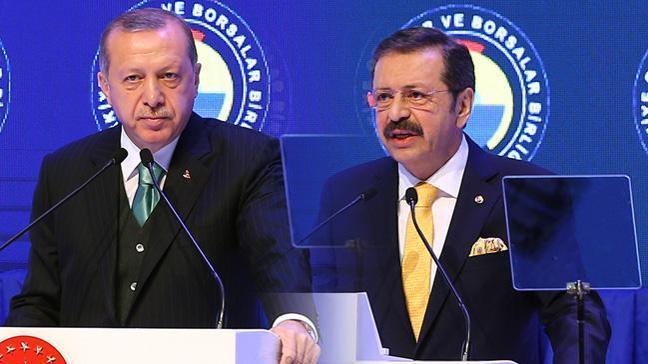 Cumhurbaşkanı Erdoğan'dan Hisarcıklıoğlu'na: Bana her bir üye için bir istihdam sözü vereceksin