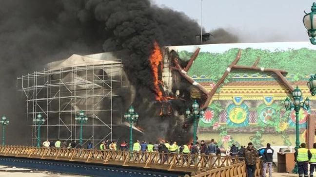 Ankapark inşaatında çıkan yangın hasara neden oldu