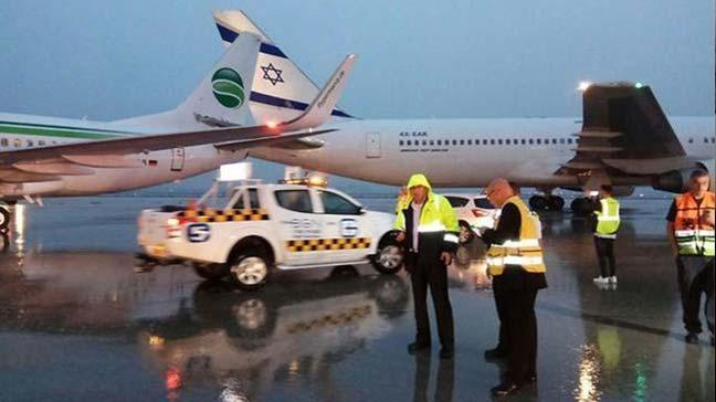 İsrail'in başkenti Tel Aviv'de bulunan Ben Gurion havaalanında iki uçak pistte çarpıştı